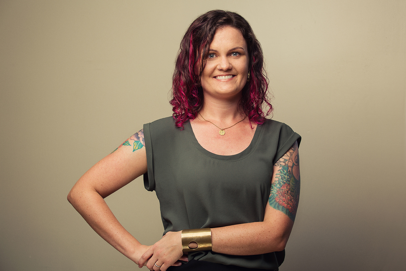 Oakland Professional modern portrait photography, Massage therapist, woman with tattoos.